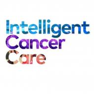 "The words ""Intelligent Cancer Care"" stacked vertically.  Each word has a different colored and textured treatment."